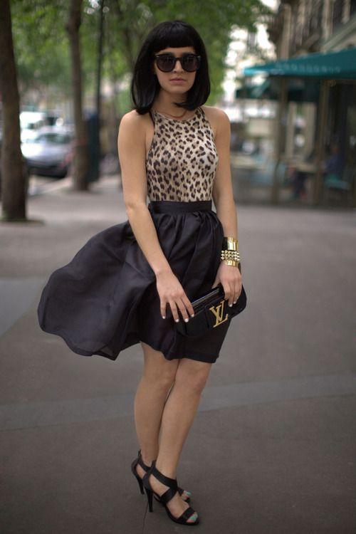 Vintage Leopard Tank, ASOS Skirt,Annabelle's Wigs  Black Bob,Louis Vuitton Clutch, Spartoo Sandals & ASOS Sunglasses(image:befrassy)