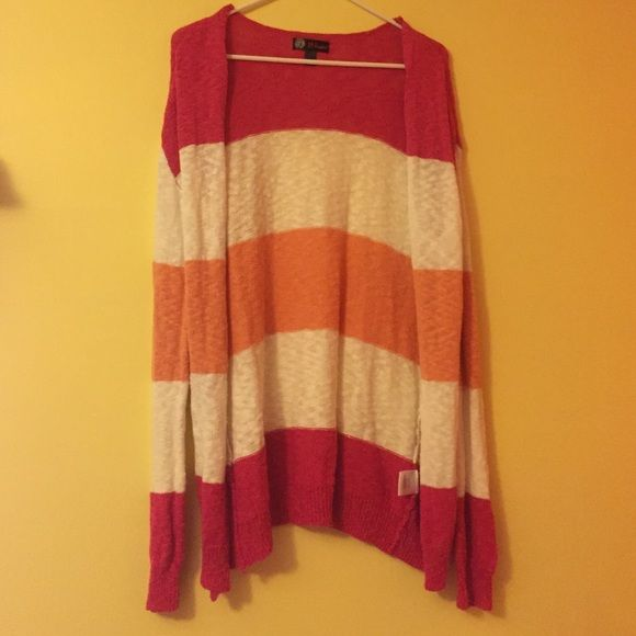 pink white and orange cardigan light weight knit material! super cute and comfy! goes below my butt Sweaters Cardigans