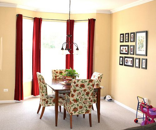 I Love The Way The Frames Are Configured  For The Home Amazing Red Dining Room Curtains Design Ideas