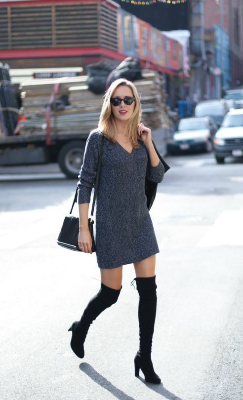 How To Wear Over The Knee Boots In Fall My Style Pinterest