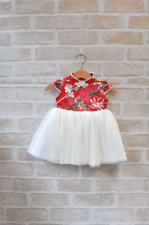 Baby Girl Traditional Chinese QiPao Chinese Style New Year Outfit Red Dress Korean Cheongsam Dragon