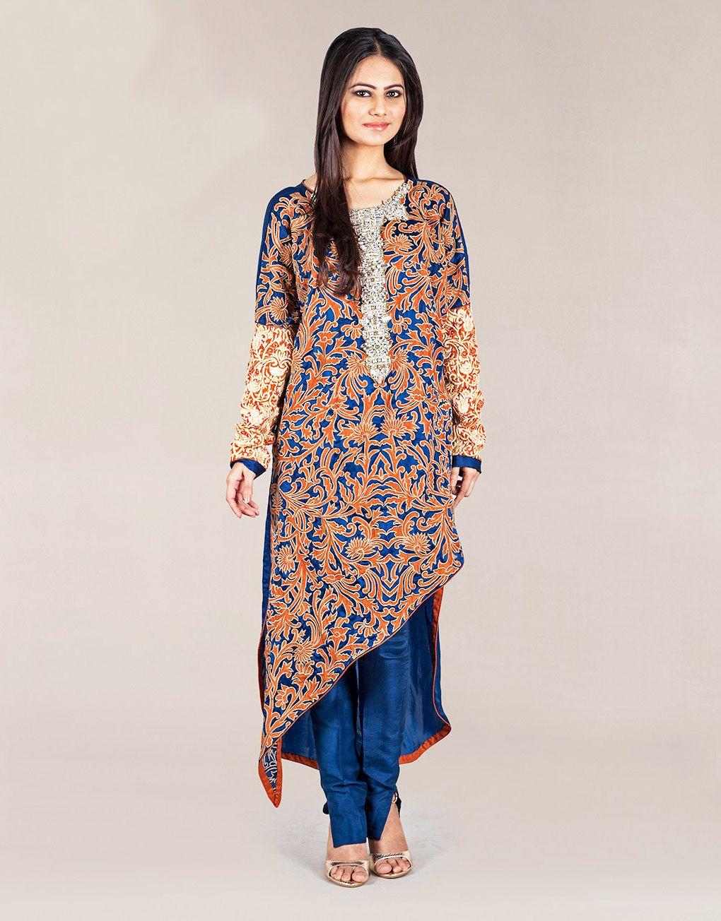6d2e3f9fd730 Latest Silk Tunic Dresses Designs For Girls 2017