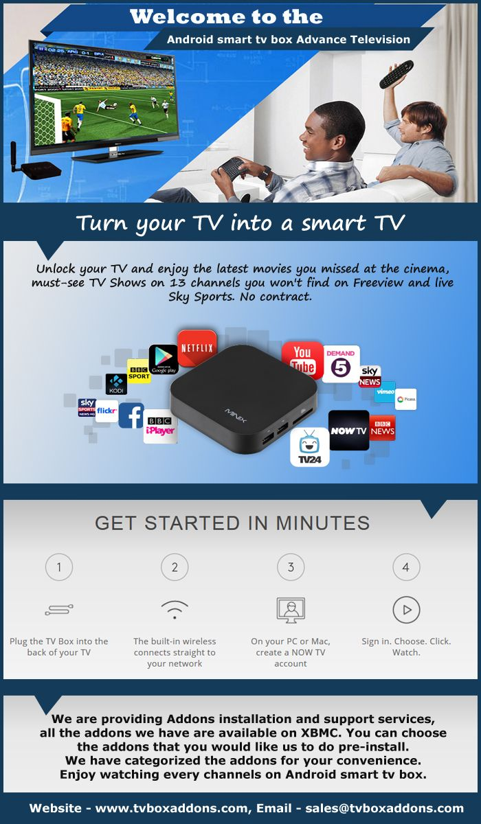 Discover the best features of Android smart tv box with multiple addons, games, showsand a lot more fun things only at Tvboxaddons.com. Enhance your Tv watching by a few notches higher. - See more at: http://www.tvboxaddons.com/index.php?route=product/category&path=59
