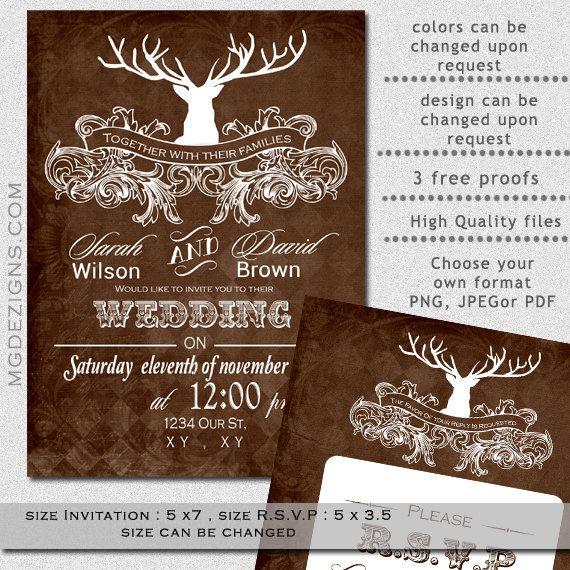 printable rustic winter woodland deer antler wedding invitations, Wedding invitations