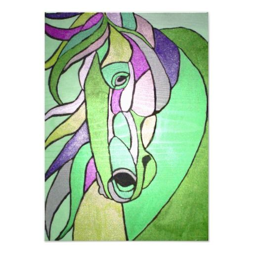 Metallic Horse in Green Print