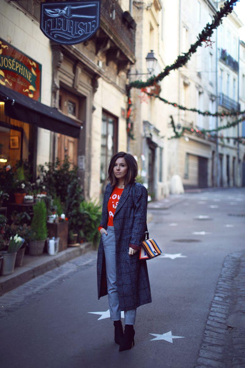 Long manteau gris prince de galles MKT Pull rouge cachemire