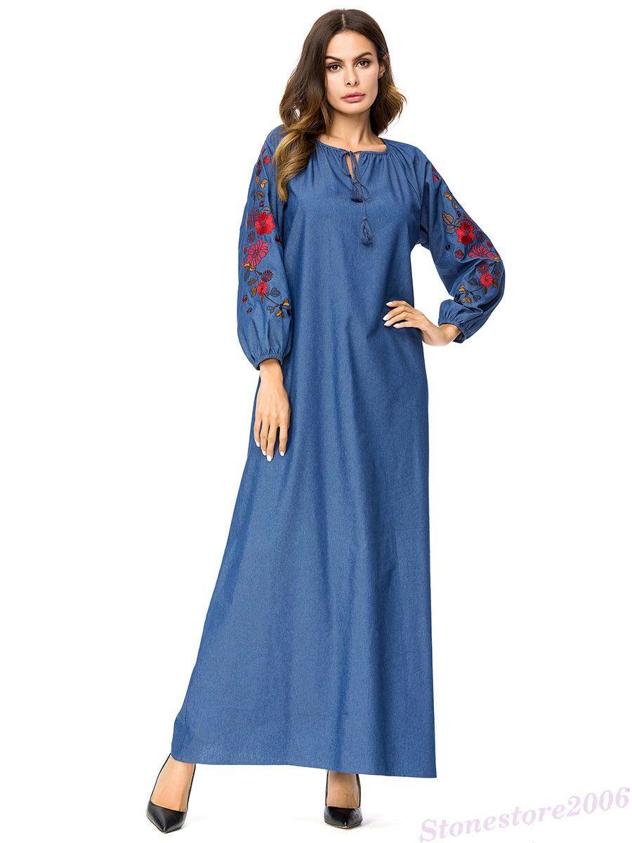 b92c7d72a1c9 MUSLIM WOMEN EMBROIDERED Ethnic Long Maxi Dress Dubai Robe Gown Abaya  Kaftan New - £19.23 | PicClick UK