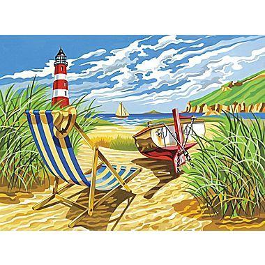 Reeves Paint By Numbers Large Seashore Painting Seashore Paintings Paint By Number Paint By Number Kits