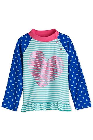b9961d8fed143 Sun Protective Coolibar UPF 50 Girls Ruffle Rash Guard