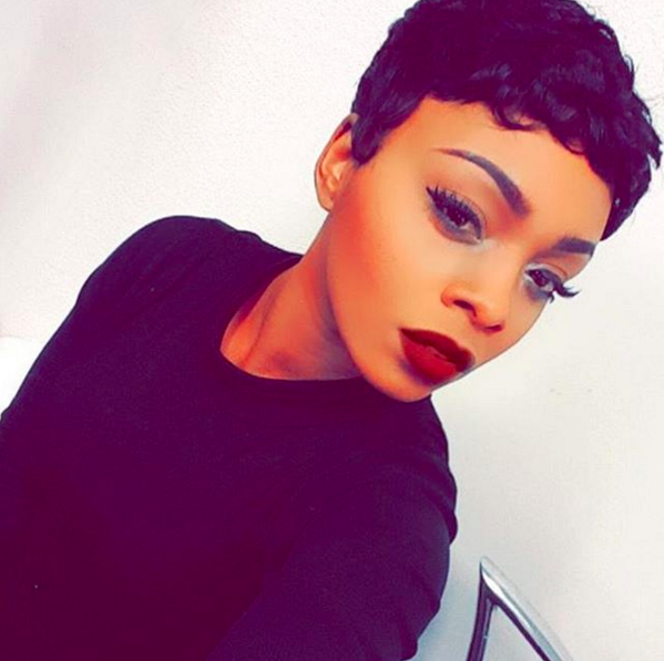 how to style a pixie cut black hair pixie haircut on a black wearing lipstick 9655