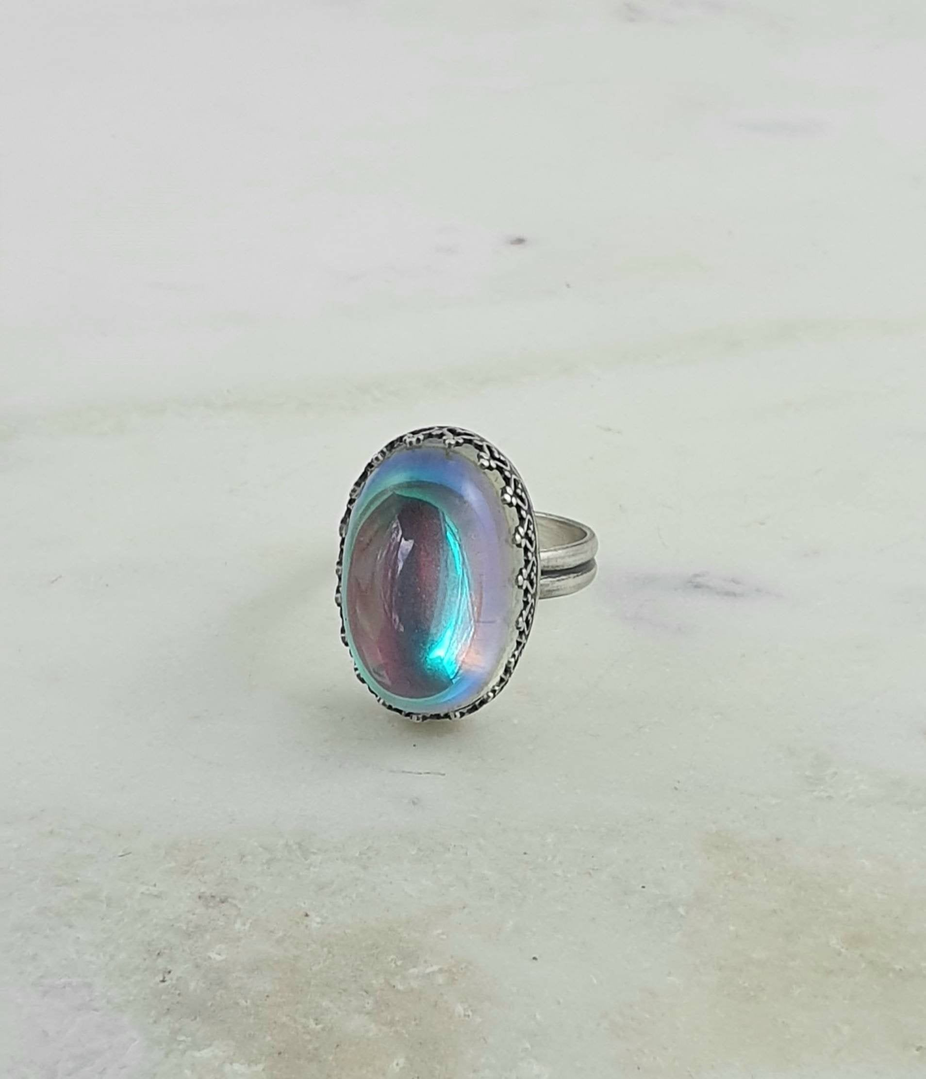 Gift Jewelry Golden Sunstone Handmade Jewellry 925 Sterling Silver Plated 5 Grams Ring Size 8.5 US