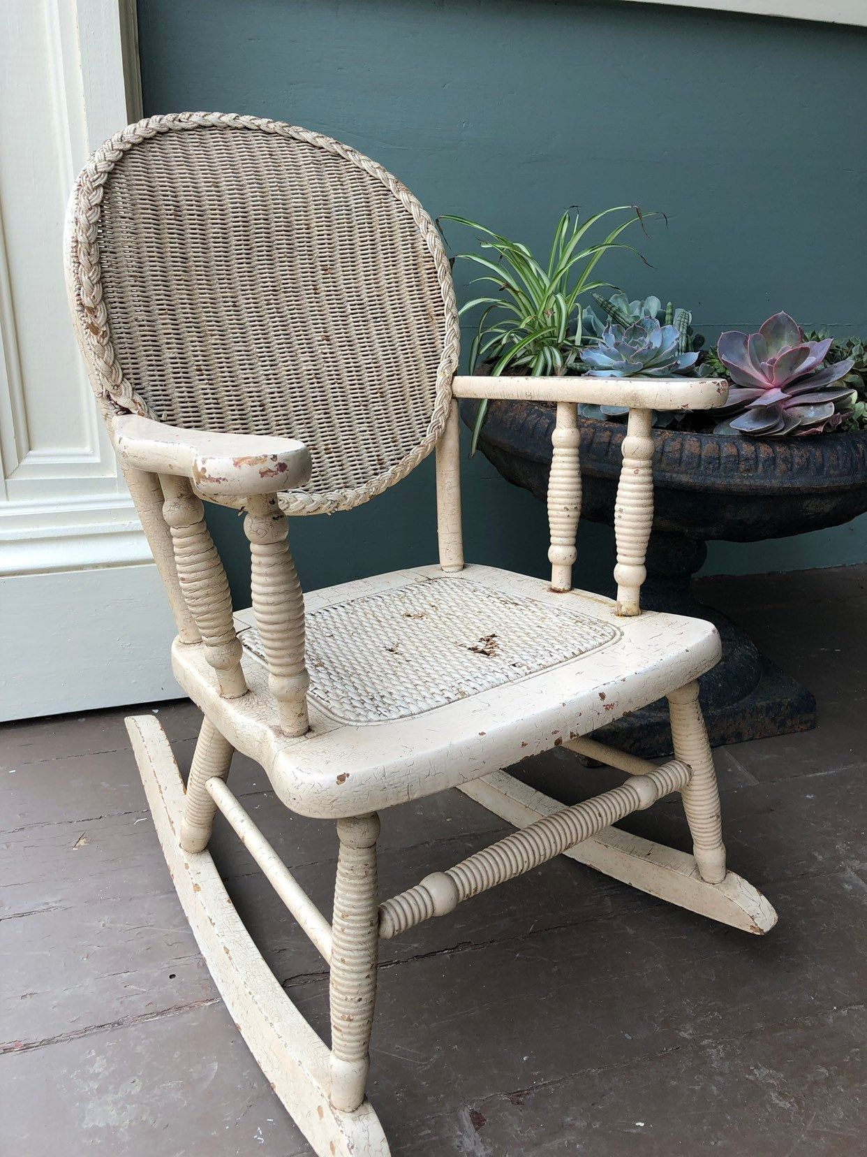 Antique Wood and Wicker Childs Rocking Chair,Turned