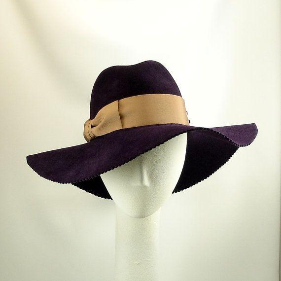 e33f612a29372 Wide Brim Womens Fedora Hat - Felt Winter Hat - Aubergine Eggplant ...
