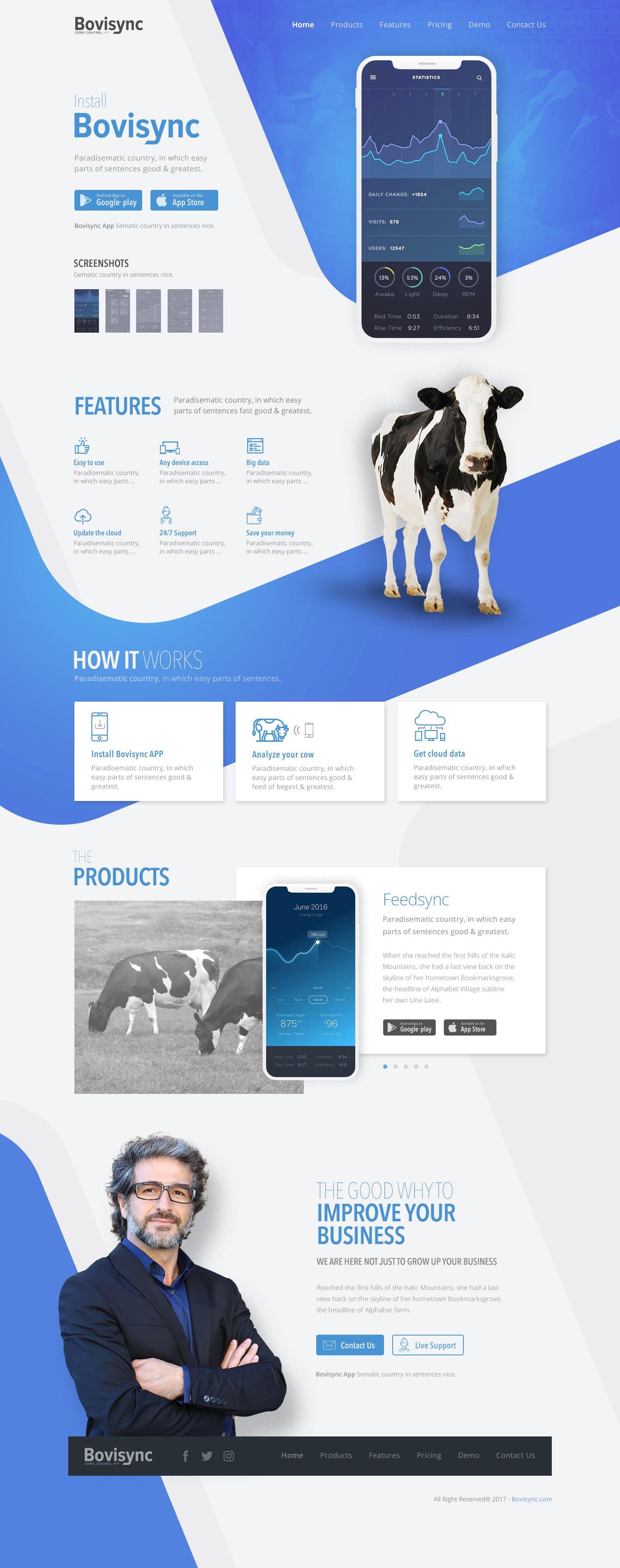 Blue White Mobile App Web Design For Bovisync Mobileappwebdesign Mobilewebdesign Bluewhitewebdesign Responsivewebdesign Appwebdesign Farmsappwebde