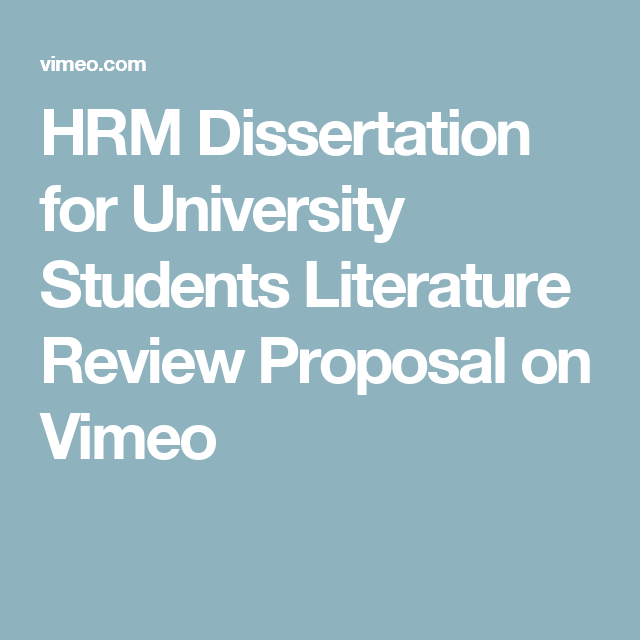 Dissertation proposals hrm