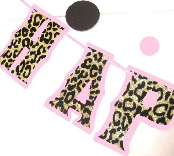 cheetah print birthday banner leopard print party decor cheetah