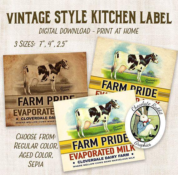 Printable Kitchen Labels Vintage Milk Label Primitive Clip Etsy Kitchen Labels Pantry Labels Scrapbook Images