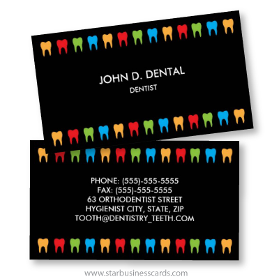 Black Dental Business Card With Colorful Teeth Borders
