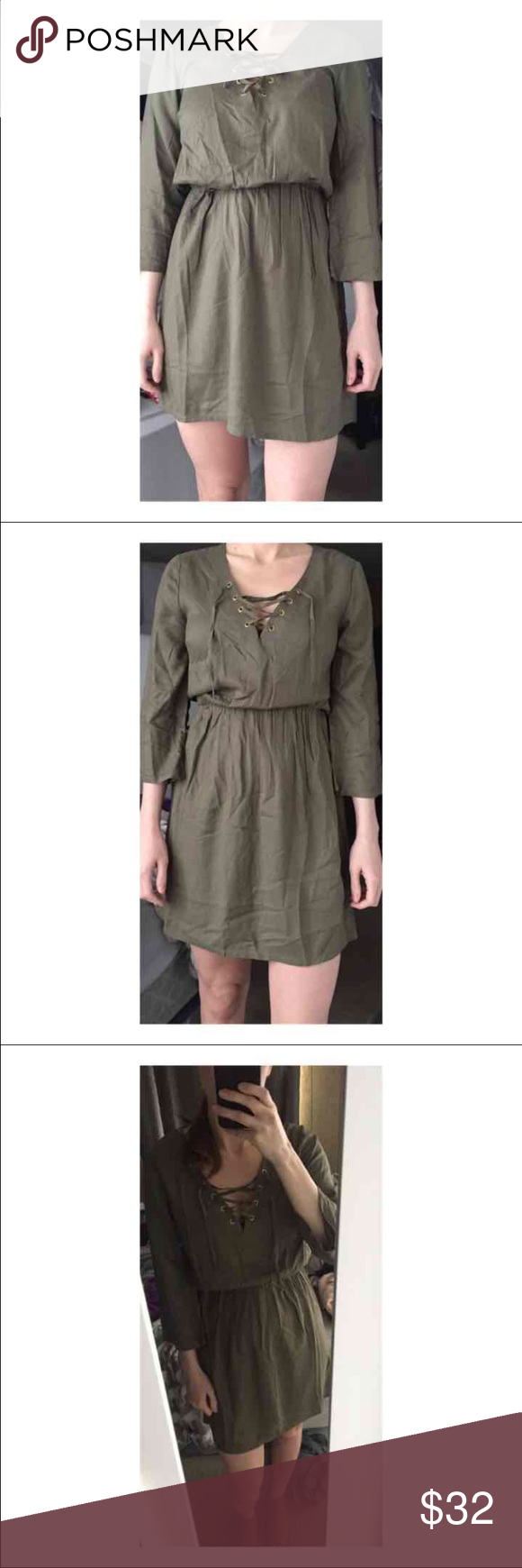 Green lace up dress  HuM Divided Lace Up Tie Front Boho Dress Olive Green New never worn
