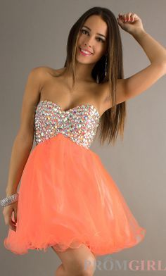 orange homecoming dress Short
