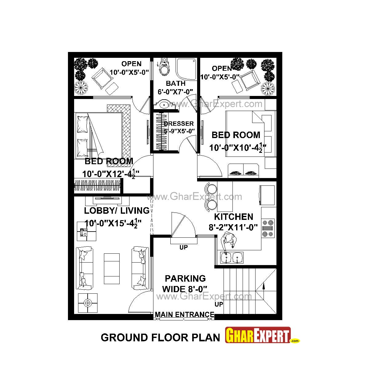 House Plan For 30 Feet By 35 Feet Plot In 2020 House Plans How To Plan Ground Floor Plan
