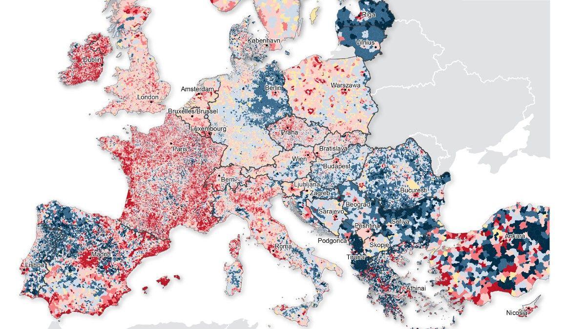 Nytt Kart Viser Dramatiske Bosettingsendringer I Europa Kart Og
