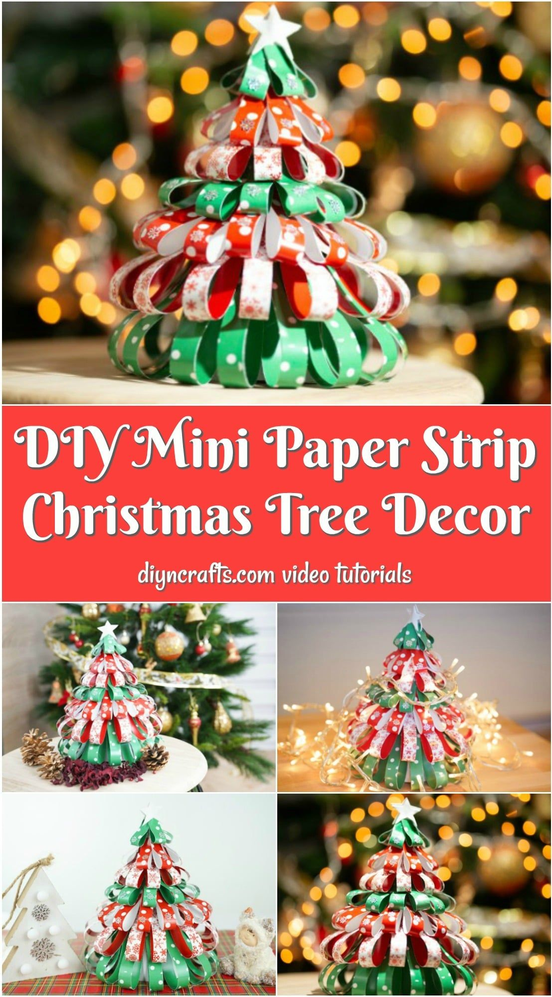 Festive Paper Strip Mini Christmas Tree Decoration With Video With Images Christmas Tree Decorations Mini Christmas Tree Decorations Mini Christmas Tree