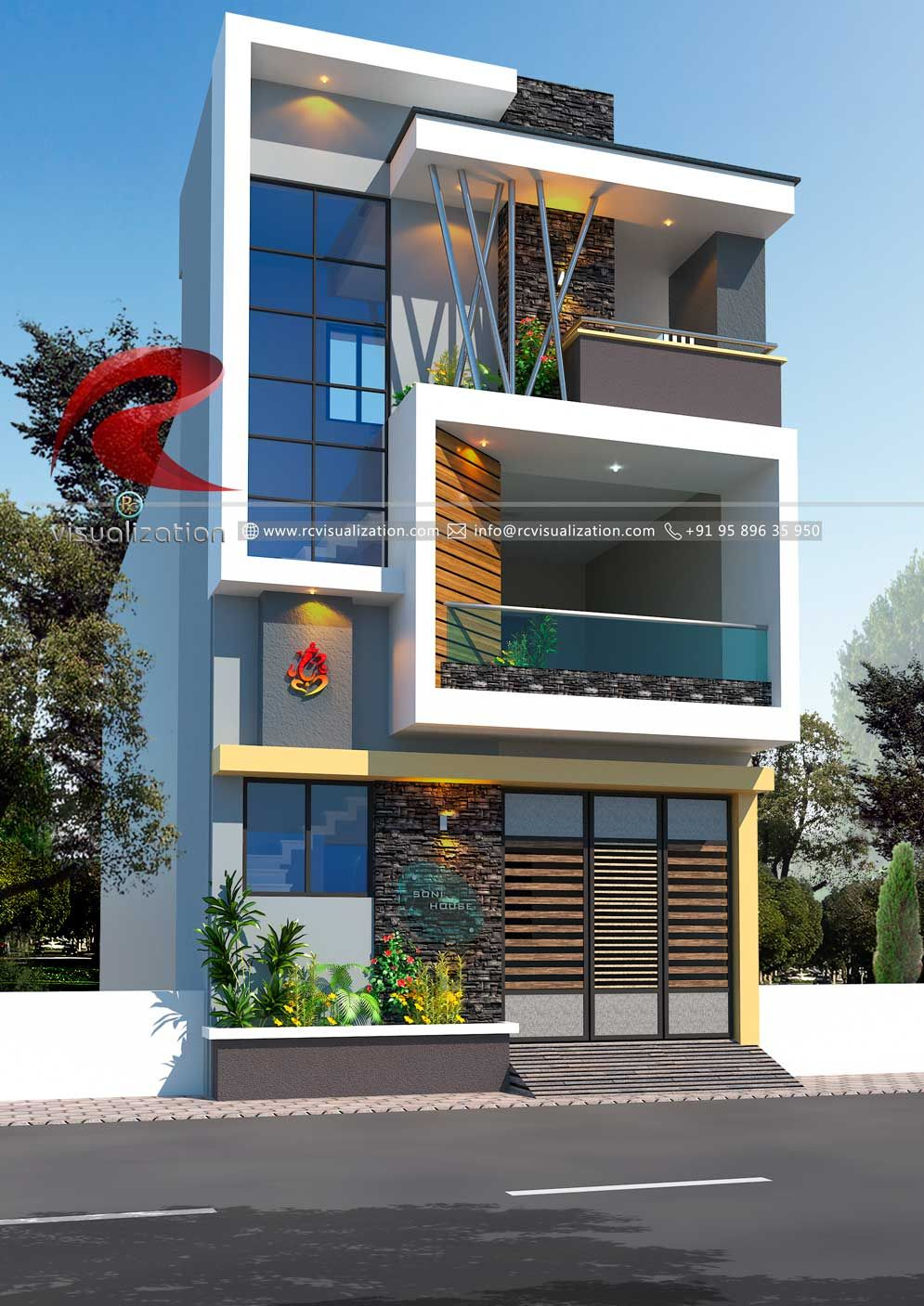3d Narrow House Designs Gallery Rc Visualization Structural Plan And Elevation Designin Narrow House Designs Small House Elevation Design Duplex House Design