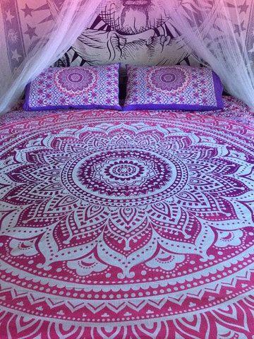 Roundie mandala bed sheet and matching pillowcases, mandala throw, bohemian wall tapestry, boho sheet, bohemian decor, hippie bedsheet by TheFoxAndTheMermaid on Etsy https://www.etsy.com/listing/251529600/roundie-mandala-bed-sheet-and-matching