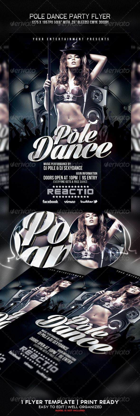 Pole Dance Party Flyer  Party Flyer Pole Dancing And Flyer Template