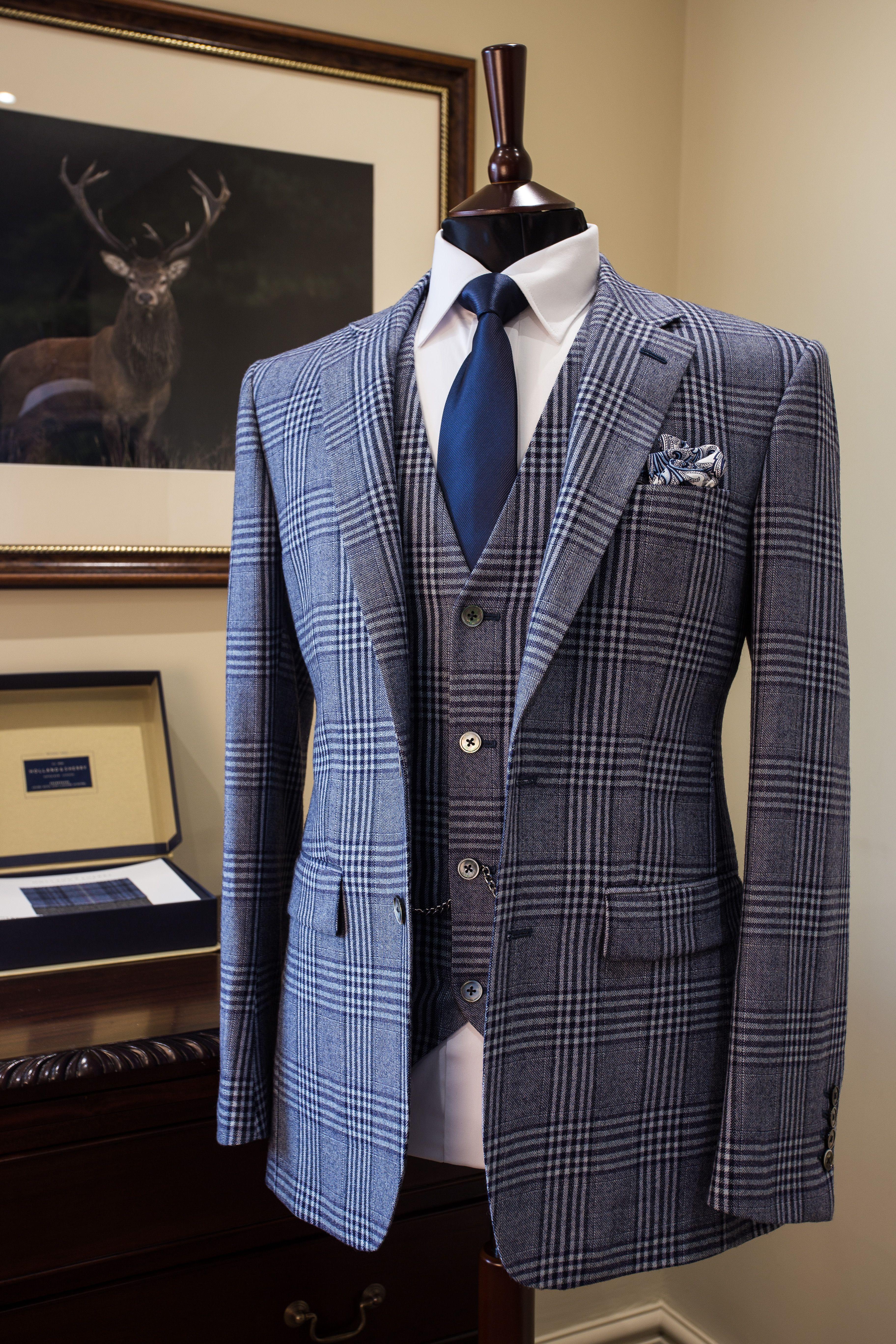 Bespoke Blue Check Tailored Suit Groom Suit Wedding Suit