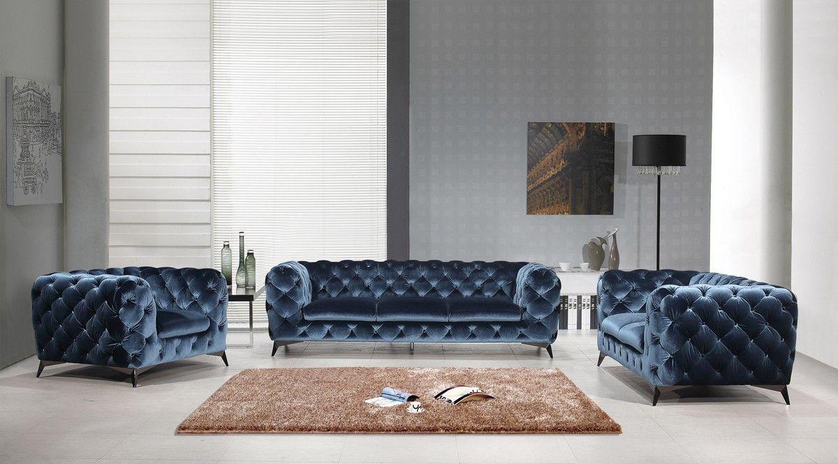 Best Divani Casa Delilah Modern Blue Fabric Sofa Set Modern 400 x 300
