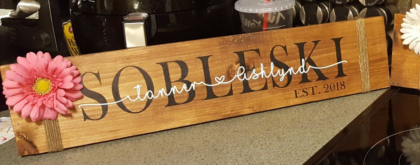 Wedding gift with last name, rustic wood sign, made with