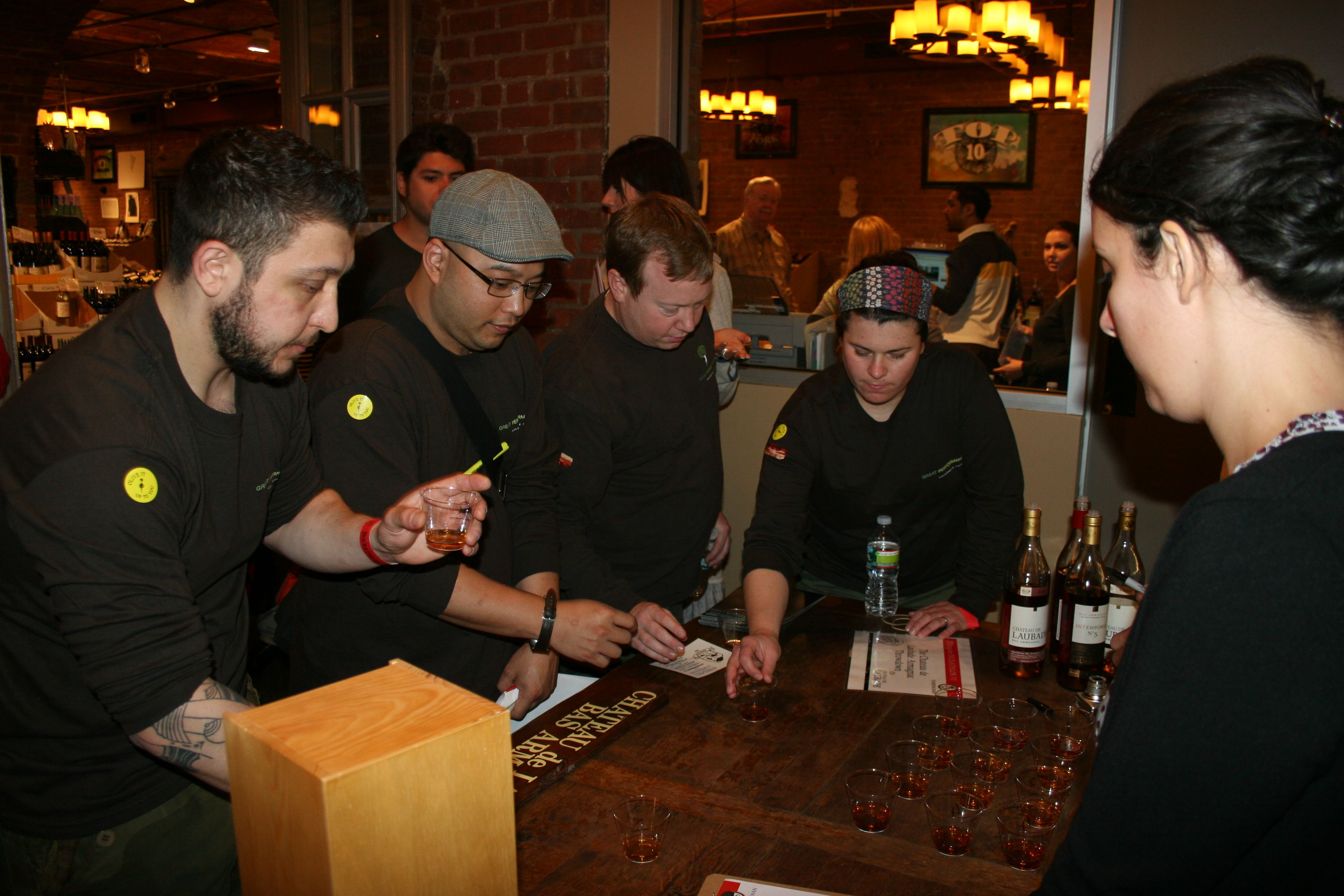 Teams bring intensity to the field of play at #Duckathlon. Here is an Armagnac tasting. It's all fun, games & food in the end. And prizes.