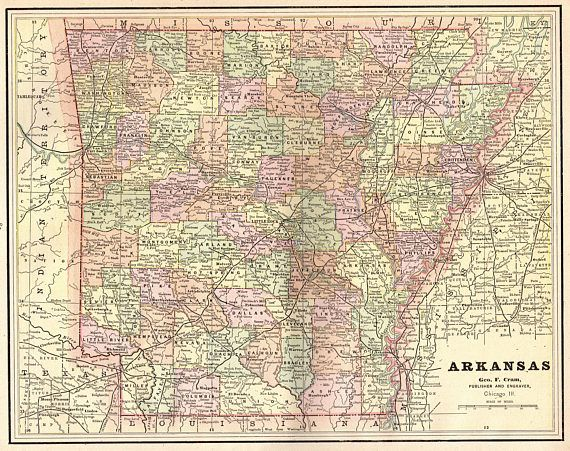 1891 Antique ARKANSAS Map of Arkansas State Map Gallery Wall