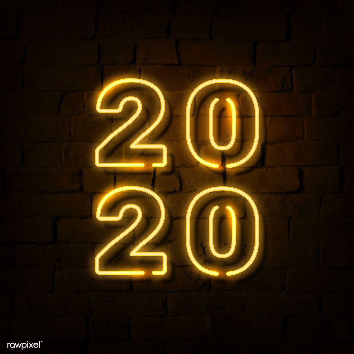 Download premium vector of Bright neon yellow 2020 social