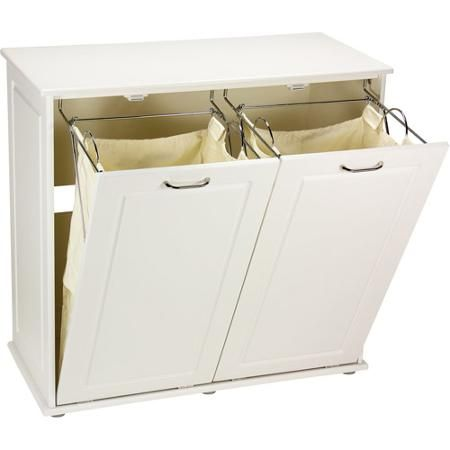 Household Essentials Tilt Out Laundry Sorter Cabinet White Walmart Com