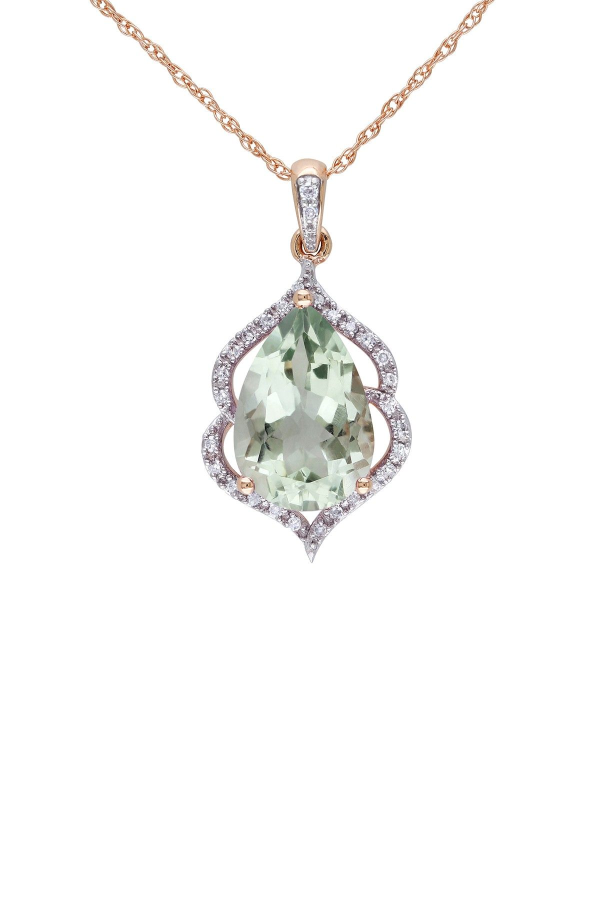 10k rose gold diamond halo green amethyst pendant necklace 010 10k rose gold diamond halo green amethyst pendant necklace 010 ctw aloadofball Image collections