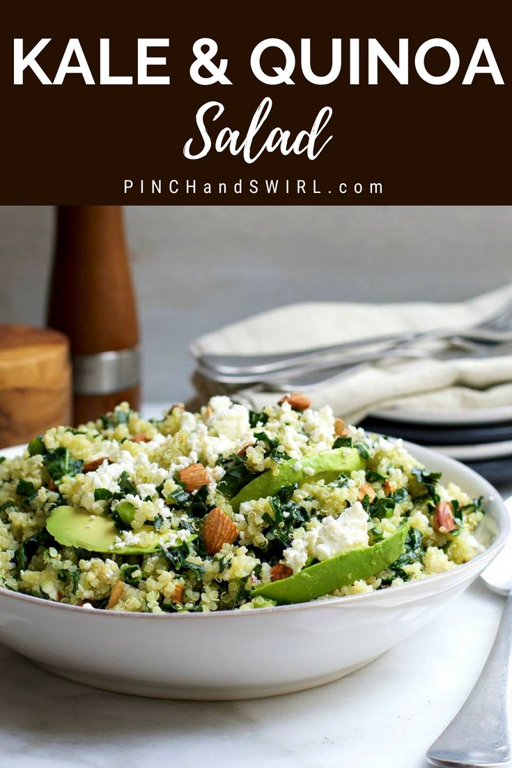 Kale and Quinoa Salad Easy Kale and Quinoa Salad is a healthy meal on it's own with buttery avocado, creamy feta cheese and crunchy almonds, every bite is a little different. Naturally gluten free and the best of all the recipes I've tried!
