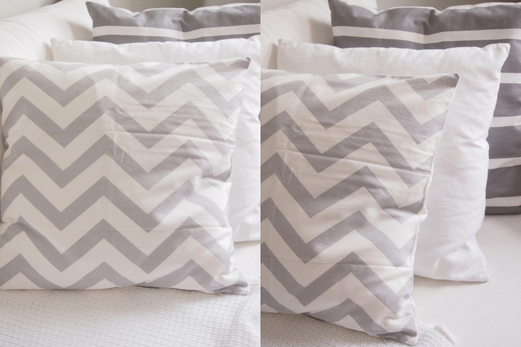 new pillows, home decoration, grey and white