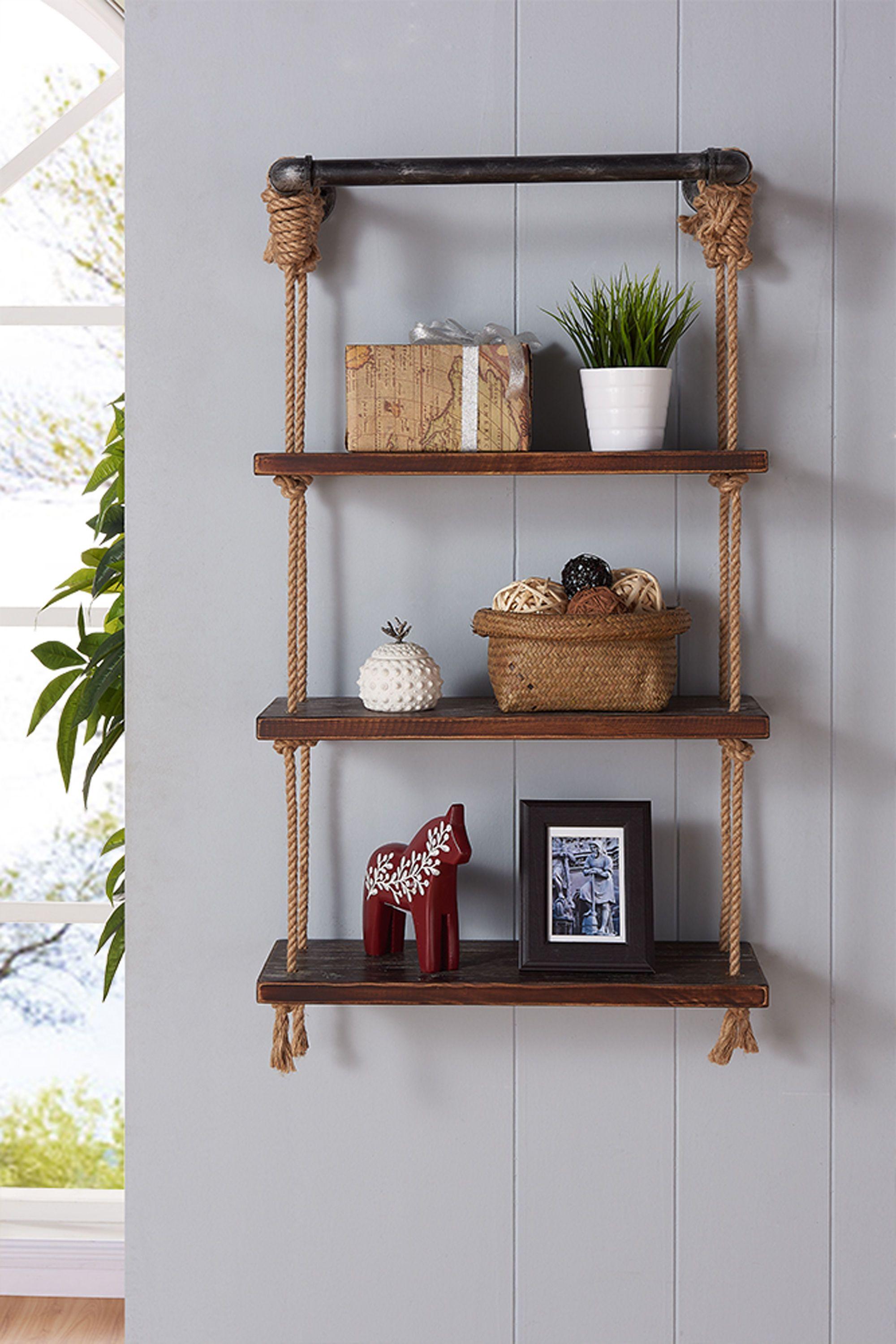 Armen Living Brannon Walnut 24 Inch Floating Wall Shelf Wandrek Thuis Woonkamer Boekenkasten