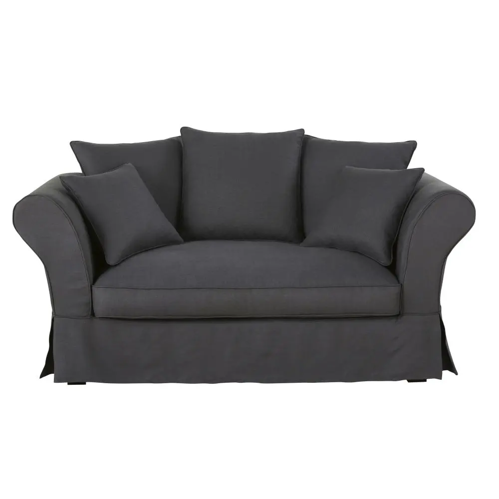 2 Sitzer Sofa Mit Leinenbezug Anthrazitgrau Roma Maisons Du Monde Leinensofa 2 Sitzer Sofa Sofa