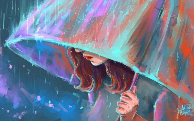 Umbrella Girl Painting Wallpaper Hd Free Download Painting Of Girl Umbrella Painting Girl In Rain