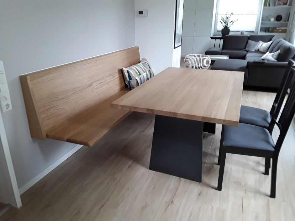 innenarchitektur kleines sitzbank holz modern esstisch aus massiver eiche mit sitzbank schwebend. Black Bedroom Furniture Sets. Home Design Ideas