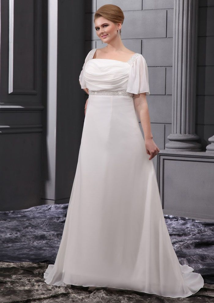 Cheapplussizeweddingdresses cheap a line square neckline generous chiffon chapel train square short sleeve none a line plus size wedding dresses junglespirit Image collections