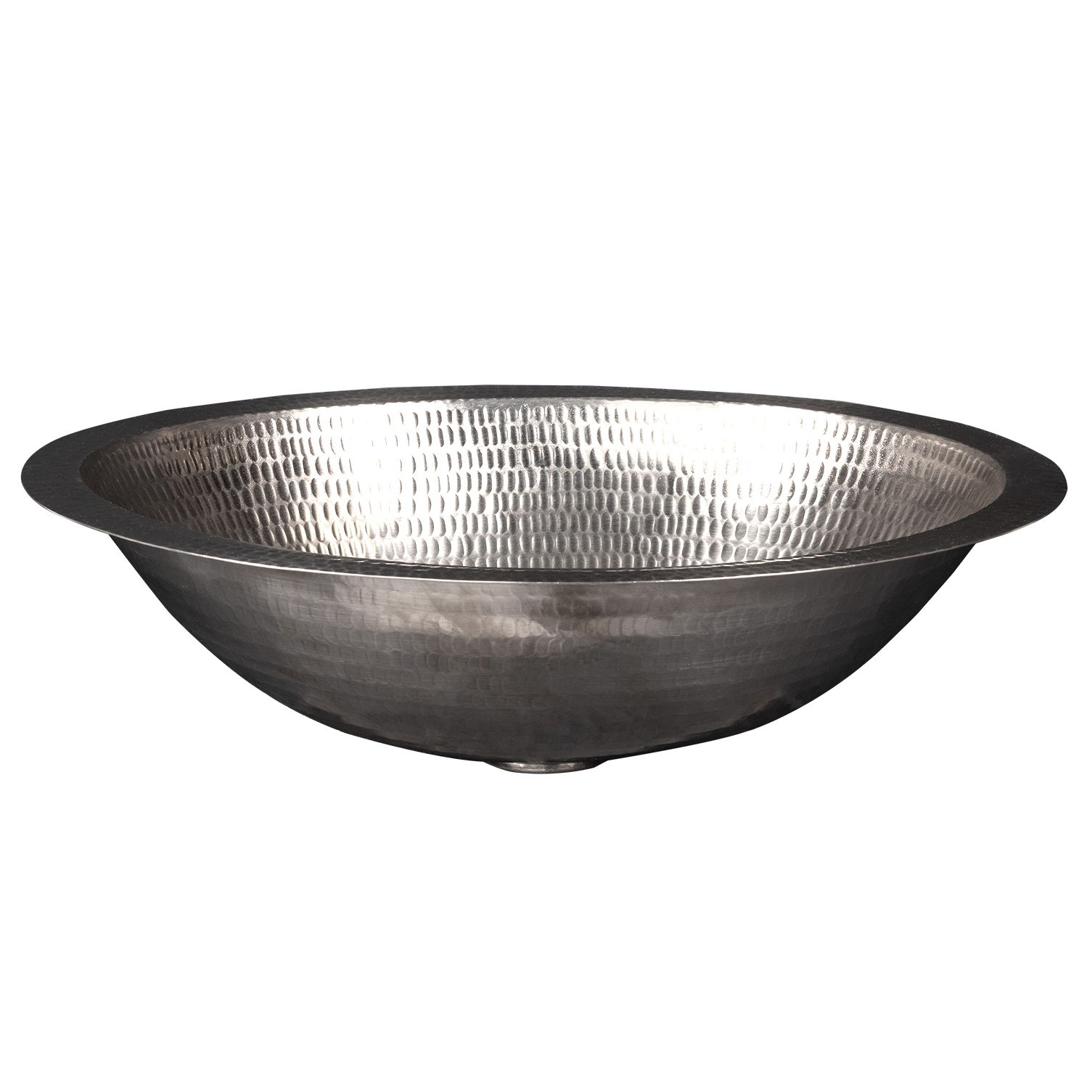 """Photo of Premier Copper Products – 17 """"oval hammered copper sink in nickel"""