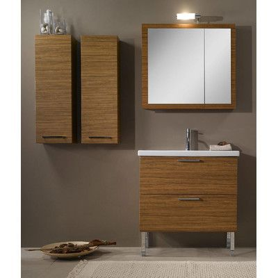 "Iotti by Nameeks Luna 32"" Single Bathroom Vanity Set with Mirror Base Finish: Glossy White"