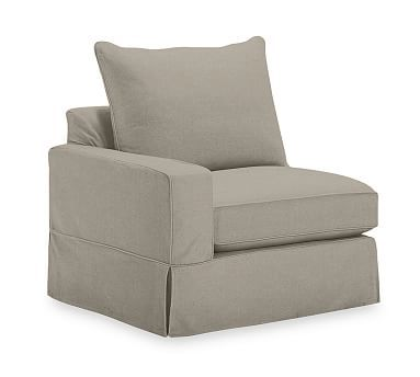PB Comfort Square Arm Left Arm Chair Knife-Edge Slipcover, Linen Blend Gunmetal Gray