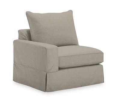 PB Comfort Square Arm Left Arm Chair Knife-Edge Slipcover, Linen Blend Gunmetal Gray