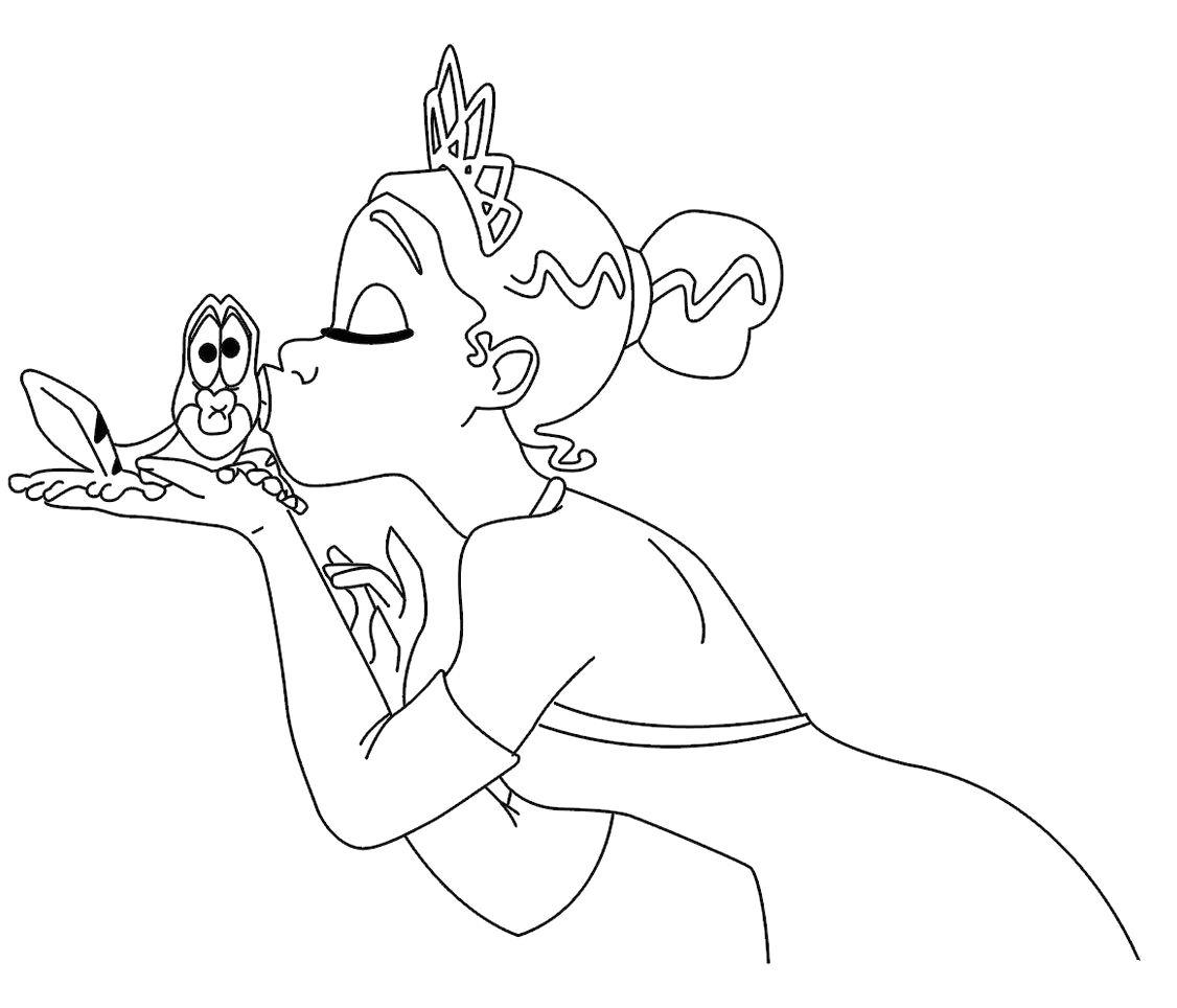 Princess Tiana Kissing A Great Frog Coloring Pages Princess Rae